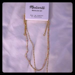 NWT delicate gold layered necklace set